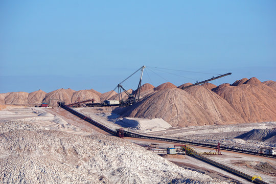 Dangerous mining of salt and minerals. Dumps in the production of potash fertilizers in Salihorsk, Belarus