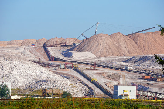 Dangerous mining of salt and minerals. Dumps in the production of potash fertilizers in Salihorsk, Belarus