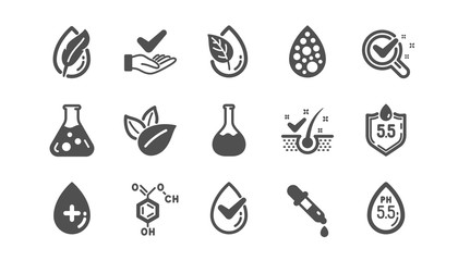 No artificial colors, Anti-dandruff flakes free icons. Dermatologically tested, Paraben chemical formula icons. Hypoallergenic tested, Neutral ph. Classic set. Quality set. Vector Wall mural