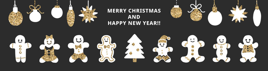 Set of cute gingerbread cookies for christmas. Isolated on black background. Vector illustration.