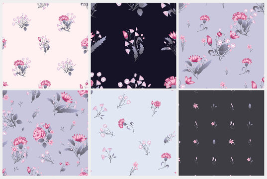 Seamless pattern set. Vector floral design with roses . Romantic background print