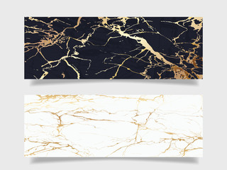 Wall Mural - Gold marble banner background vector.