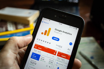 Bangkok, Thailand - June 10, 2019 : iPhone 7 showing its screen with Google Analytics application information on App Store.