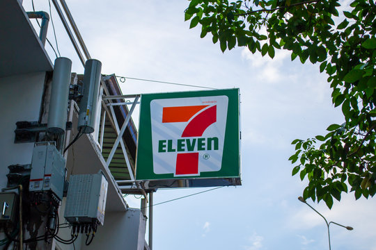 Bangkok, Thailand - June 15, 2019 : 7 Eleven logo in front of the store.