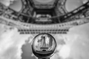 Wall Mural - The Eiffel tower seen through a crystal ball, Paris France