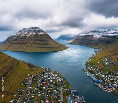 Wall mural Aerial view of the city of Klaksvik on Faroe Islands, Denmark