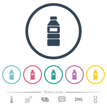 Water bottle with label flat color icons in round outlines