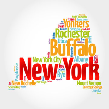 List of cities in New York USA state, map silhouette word cloud map concept