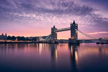 Deurstickers London Tower Bridge at colorful sunrise