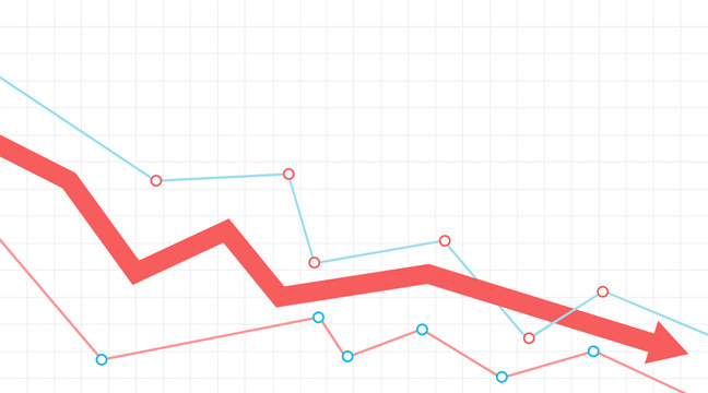 Stock or financial market crash with red arrow on a grid. Vector illustration.