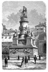 Monument to Christopher Columbus  built  in 1862 in Genoa, Italy. At the four corners of the pedestal 4 statues:  nautics, religion, cautiousness and strength. Vintage engraving, 19th century