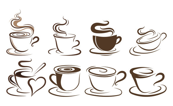 Set of cups of coffee. Collection of stylized coffee cups. Vector illustration of hot drinks. Logos for coffee shops.