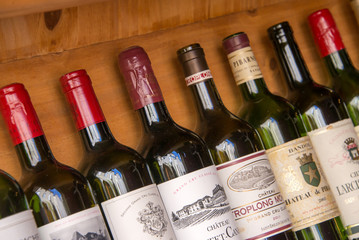 Collection of bottles of wines of Bordeaux, France