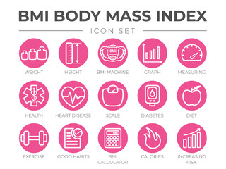 BMI Body Mass Index Round Outline Icon Set of Weight, Height, BMI Machine, Graph, Measuring, Health, Heart Disease, Scale, Diabetes, Diet, Exercise, Habits, BMI Calculator, Calories and Risk Icons.