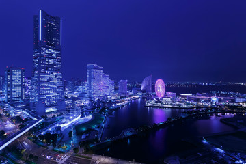 Photo sur Plexiglas Violet Yokohama Night View