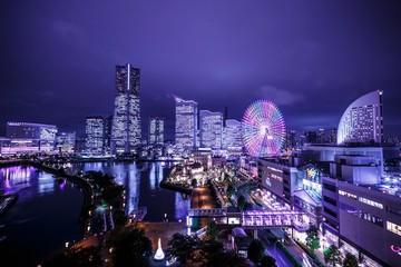 Fond de hotte en verre imprimé Prune Yokohama Night View