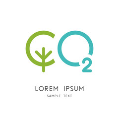 Carbon dioxide logo - green tree and oxygen symbol. Photosynthesis in nature vector icon.