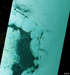 A pictures shows satellite radar image of Abaco Islands during Hurricane Dorian with portions being flooded due to storm surge