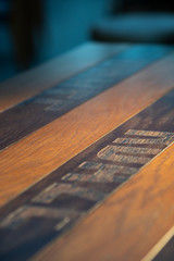 Wooden table surface. deep of field
