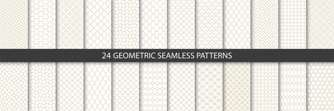 Big set of 24 vector tiled seamless patterns. Collection of geometric linear modern patterns. Patterns added to the swatch panel.