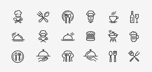 Poster Restaurant Food icons set. Collection vector black outline logo for mobile apps web or site design