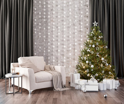 Christmas Room Interior Design with fir tree and presents 3d Render 3d Illustration