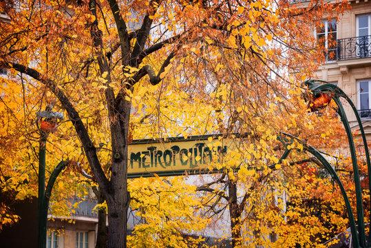 Paris Art nouveau Metropolitain sign in autumn