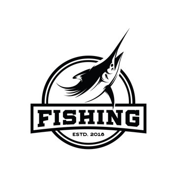 Marlin, Tuna Fish, Fishing Tuna Retro logo