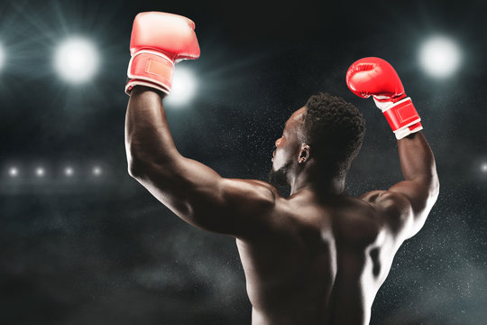 African american boxing champion raising hands up