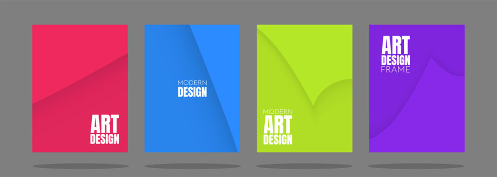 Vector minimalistic covers in simple geometric style. Shadow effect of page flipping. Red, blue, green and purple colored backgrounds. A set of A4 templates with free space for text. Modern design