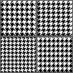 Set of classic fashion houndstooth seamless patterns. 4 variations of pied de poule traditional print