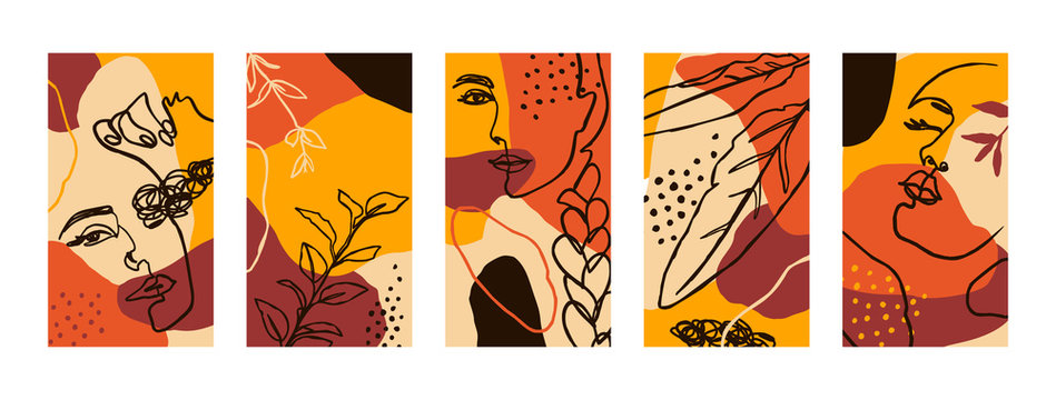 Set Backgrounds with Women Portraits and flora Elements. Abstract Mobile Wallpapers in minimalist trend style for social media stories. Vector Illustration in autumn colors orange, yellow, terracotta