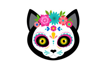 Lamas personalizadas infantiles con tu foto Day of the dead, Dia de los moertos, cute cat head skull and skeleton decorated with colorful Mexican elements and flowers. Fiesta, Halloween, holiday poster, party flyer. Vector illustration