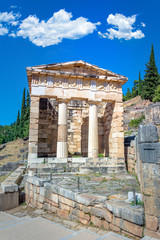 Wall Mural - Ancient city of Delphi with ruins of the temple of Apollo, the omfalos (center) of the earth, theater, arena and other buildings, Greece