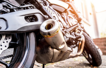 Deitails of a motorcycle - Exhaust system and Engine
