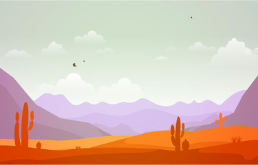 Tuinposter Purper Beautiful Western Desert Landscape with Sky Rock Cliff Mountain Vector Illustration