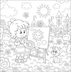 Cute happily smiling little girl drawing the sun and clouds with paints on her easel in a summer park of a pretty small town on a wonderful sunny day, black and white vector illustration