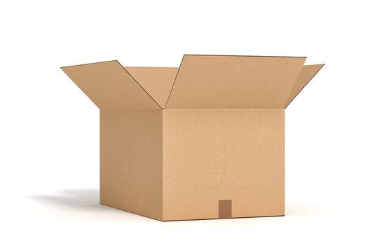 open cardboard box on white backgroaund 3d rendering