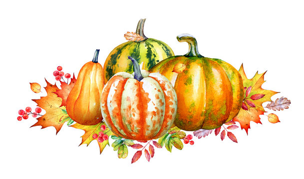 Composition with watercolorpumpkins and autumn yellow leaves.