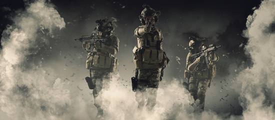 Special soldier in action military concept