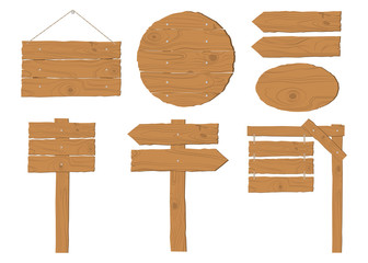 Collection of wooden signboard vector set on white background Wall mural