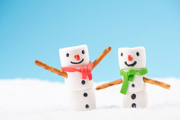 Funny Cute Marshmallow Snowmans. Fun Outdoor Games in Snow