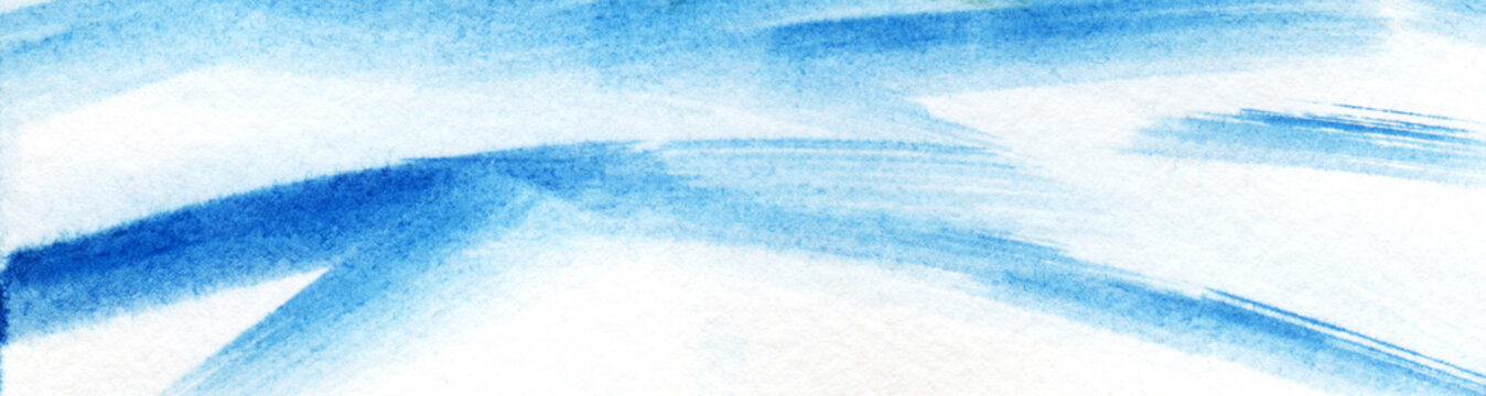 Abstract watercolor background. Chaotic male light blue strokes with a brush on a white background.Hand drawn illustration. Elongated banner format