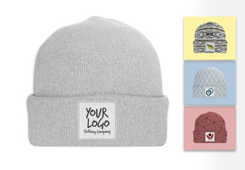 Mockup of a Beanie with Label