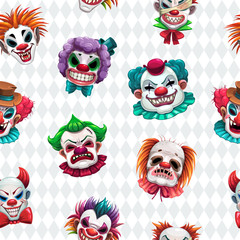 Seamless pattern with scary clown faces on the white background.