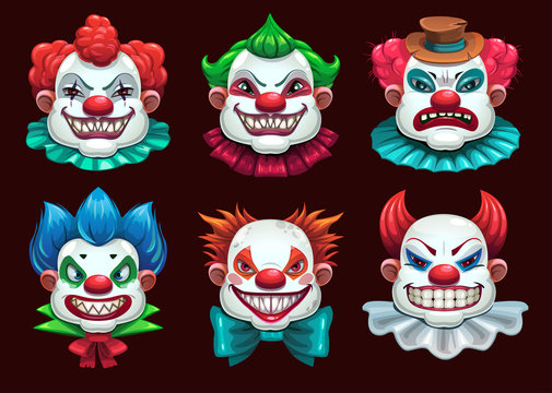 Creepy clown faces set. Scary circus concept. Vector illustration