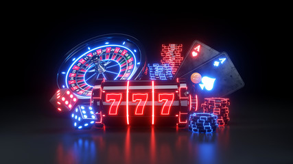 2 Aces Poker Cards and Roulette Wheel Online Casino - 3D Illustration