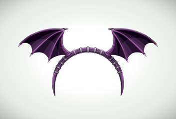 Halloween head band with dark bat wings. Vector icon.