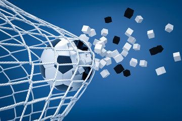 Fototapeta 3d rendering of football ball shattering into pieces while breaking through football gate net on blue background