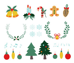 Vector illustration. set of christmas icons.